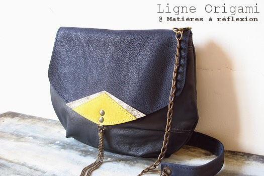 Petit sac vintage bleu et jaune : la mini-moon Origami Matières à réflexion