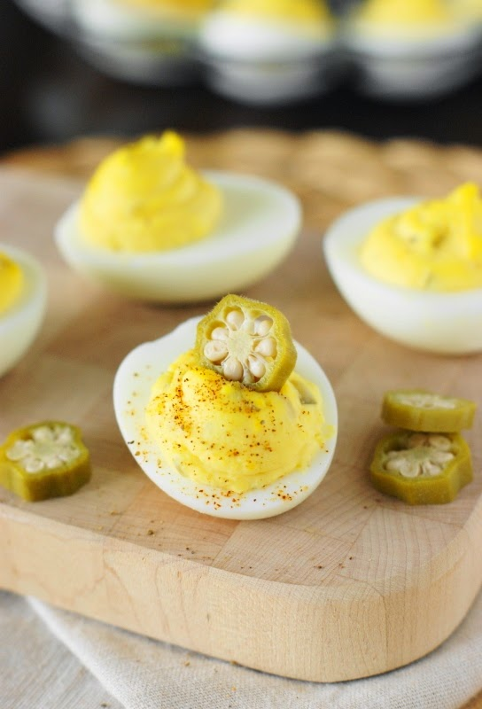 Deviled Egg Garnishes ~ Pickled Okra