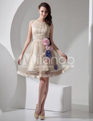 Champagne A-ligne de robe courte de mariée Mini