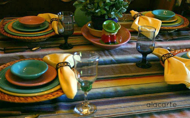 This year for Cinco De Mayo I challenged myself to only use Fiesta ware dishes and new decorations. All my Fiesta is thrifted and so not much matches ... & A LA CARTE: Fiesta Challenge