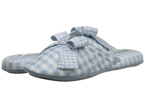 patricia green quilted silk gingham slippers