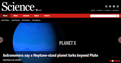 "snapshot of ScienceOnline web page.  Headline: Astronomers say a Neptune-sized planet lurks beyond Pluto.  Image of blue planet with text: ""Planet X."""