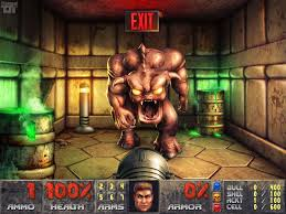 Large pink demon from one of the later levels in Doom II. Or possibly Doom. I'd need to check.