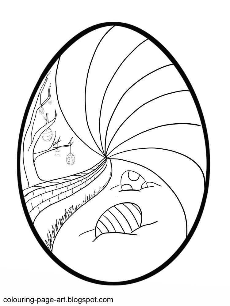 Easter Egg Landscape Surreal Easter Egg Colouring Page