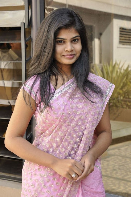 alekhya in saree hot pics At Kothaga Movie Press Meet 18 South Actress Alekhya Gorgeous Photos in Saree