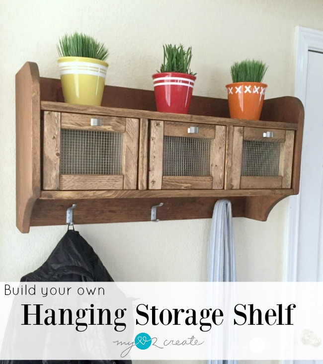 Build your own Pottery barn inspired hanging storage shelf with plans from MyLove2Create