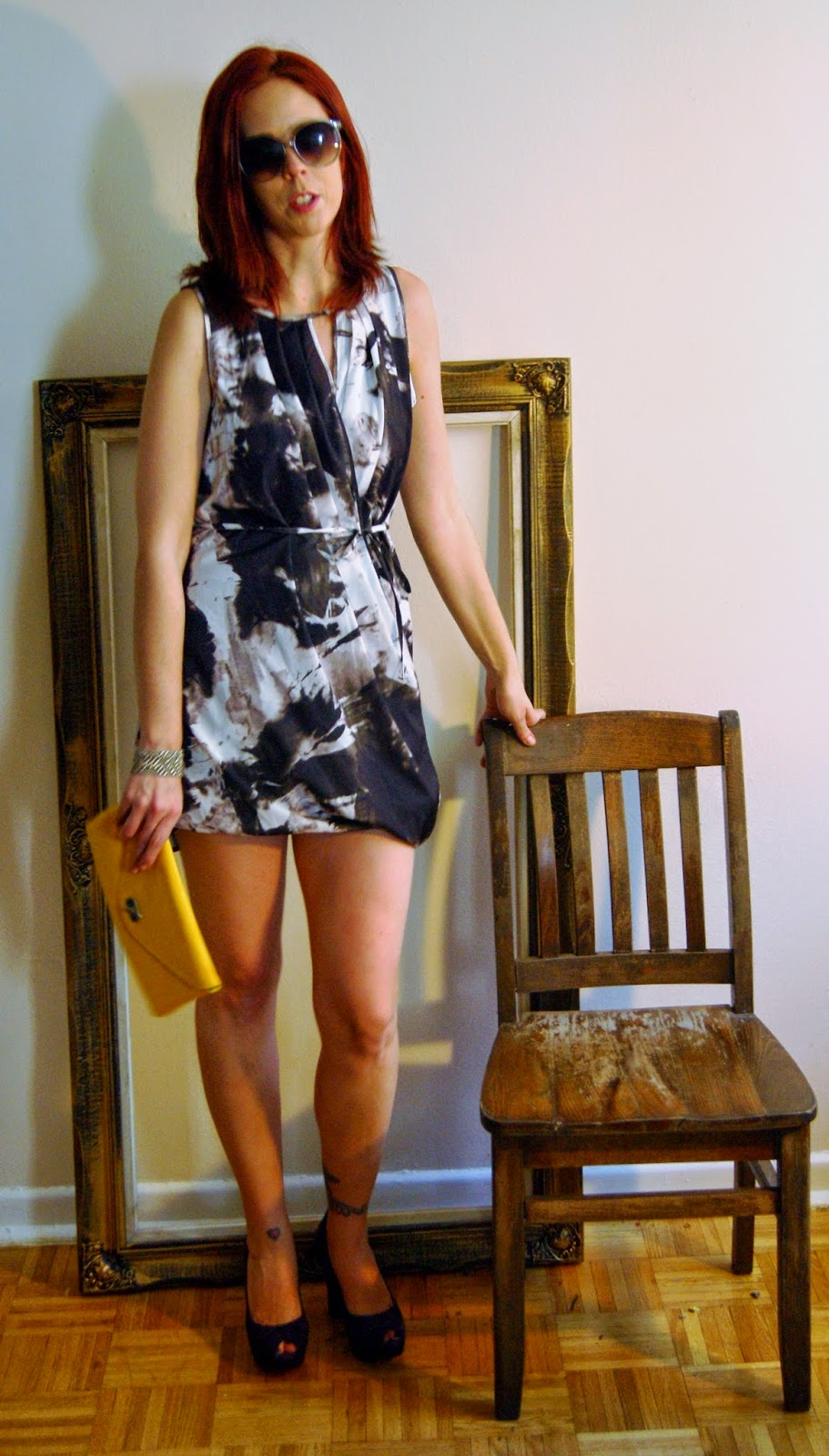 Party Ready!: Dress from H&M, Vintage Clutch, Fergie Shoes From Sears Fashion Style Melanie.Ps Blogger Toronto The Purple Scarf