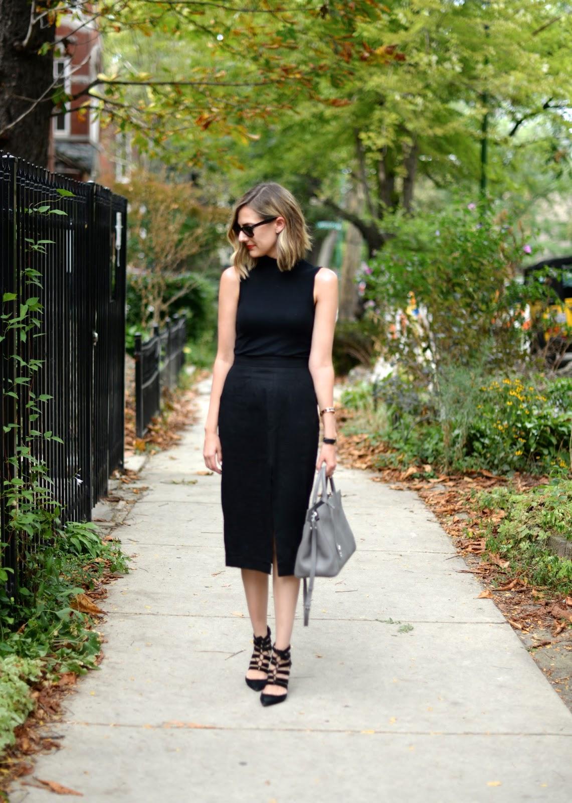 saint laurent cabas bag outfit, black pencil skirt