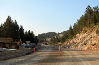 Construction zone in the Bighorn National Forest on highway 20 in Wyoming