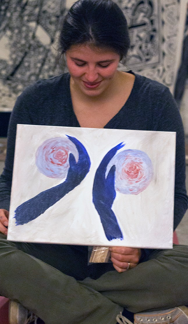 fellow participant showing her work