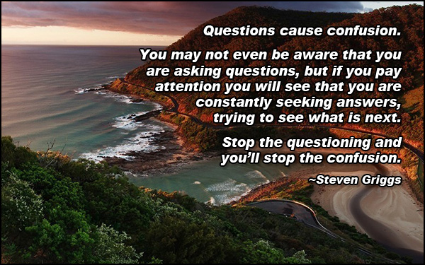 Stop questioning and you will stop the confusion.