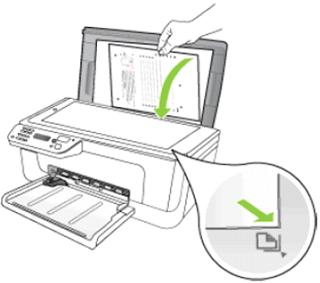 Расположить оригинальный документ на стекле сканера по меткам