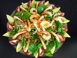 Salade de crevettes aux épinards