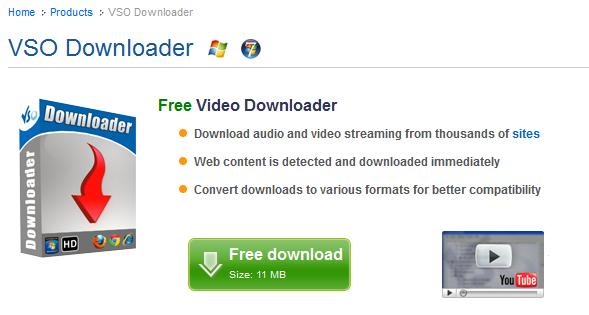 VSO Downloader (free) download Windows version