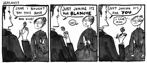 A comic of Mr. Rochester being mean to Jane Eyre.