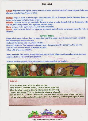 Bolinha natalina com rena de tecido e feltro