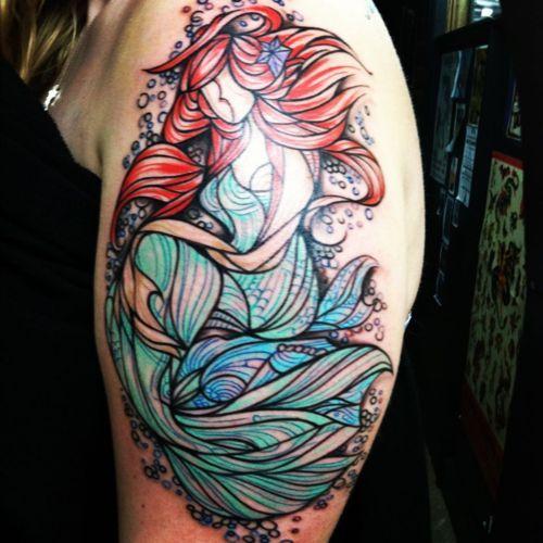 Mermaid Face Tattoo Stained Glass Mermaid Tattoo