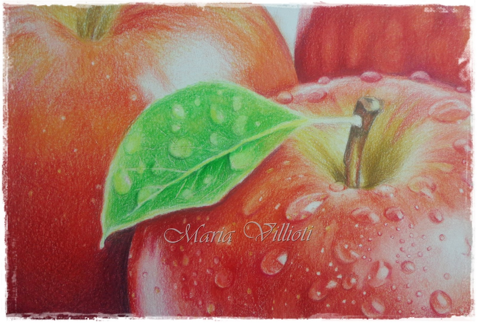 Maria Villioti - breaths of art: Drops on apples with colored pencils