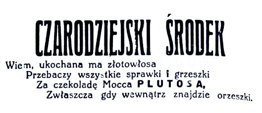 Czekolada Plutos. Reklama prasowa, 1927.