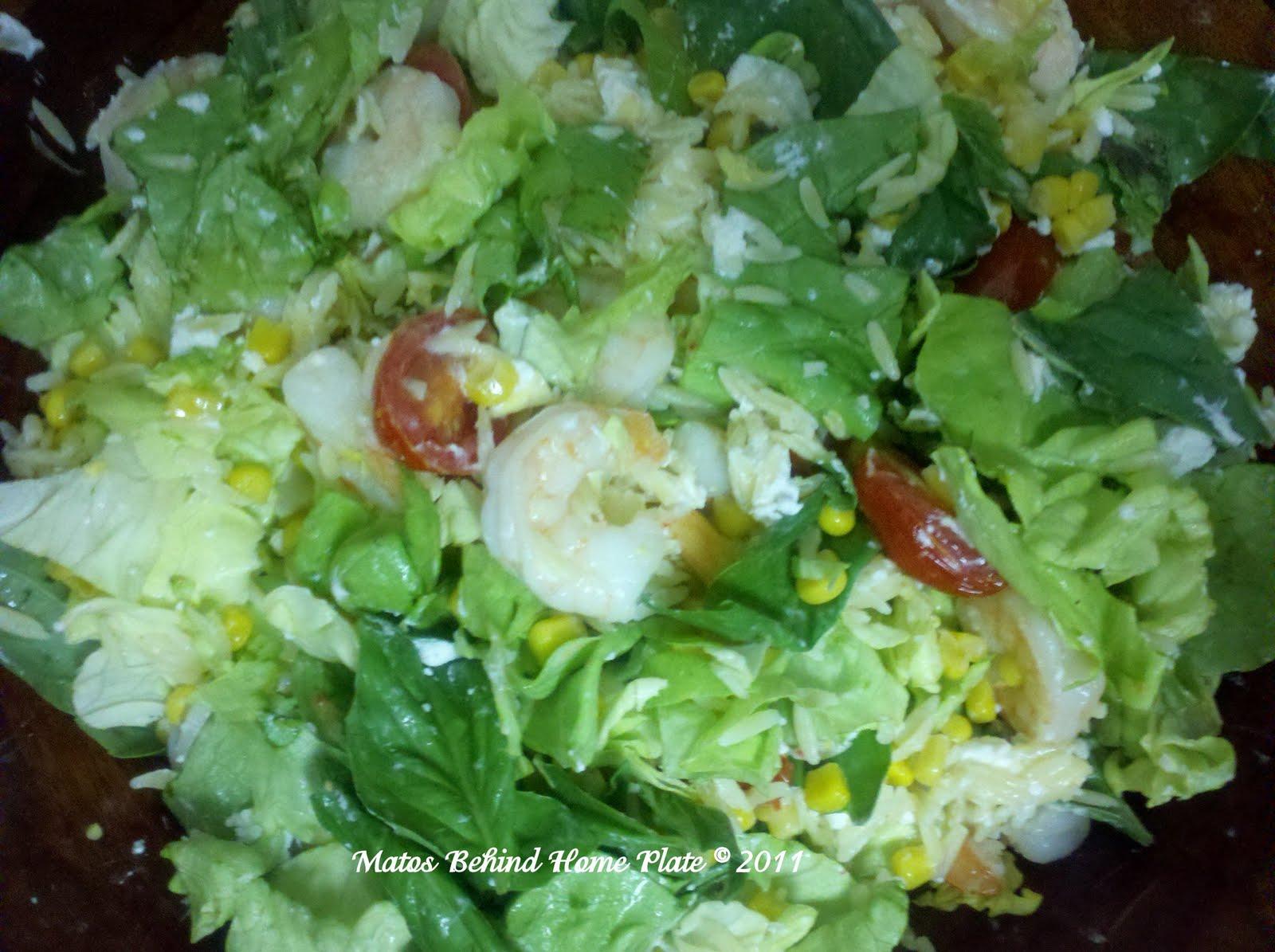 Matos Behind Home Plate: Shrimp, Corn and Goat-Cheese Pasta Salad