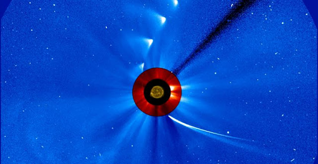 One of the more well-known comets observed by SOHO is Comet ISON, seen in the this time lapse photo from Nov. 28, 2013. Comet ISON comes in from the bottom right and moves out toward the upper right, getting fainter and fainter. The image of the sun at the center is from NASA's Solar Dynamics Observatory. Credits: ESA/NASA/SOHO/SDO/GSFC