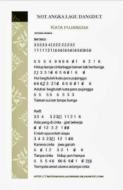 not angka lagu dangdut kata pujangga rhoma irama