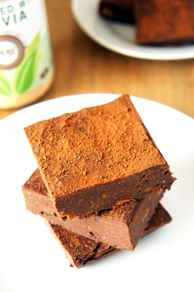 Fudgy double chocolate sweet potato brownies with peanut butter | The Road to Less Cake