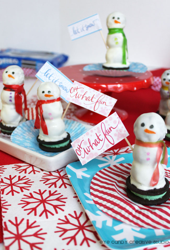 free winter signs, let it snow, oh what fun, free download, holiday snowman