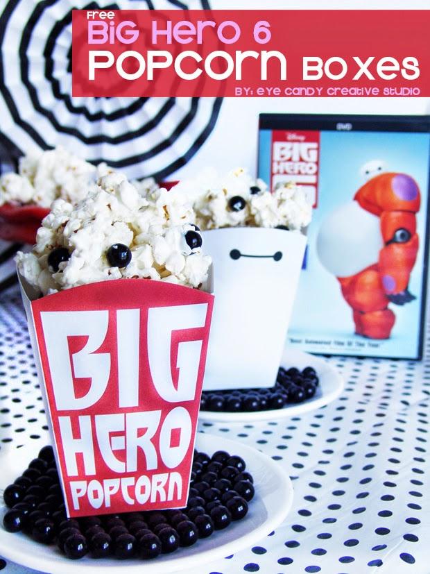 free popcorn box, movie night, Disney movie, Baymax, Big Hero popcorn
