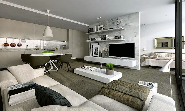 astonishing studio apartment design with open tier shelves and wall credenza