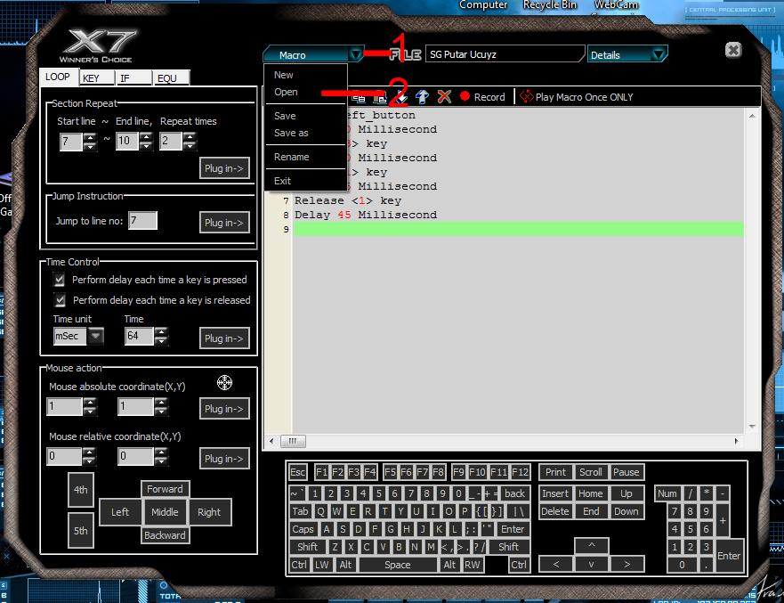 Setting Mouse Macro A4 Tech X7 XL 747H