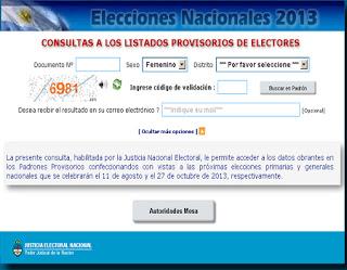 Ver Online Donde Votar PADRON ELECTORAL Elecciones 2013 Argentina en: www.padron.gob.ar (HD)