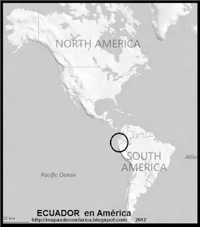 Ubicación de ECUADOR en América, blanco y negro
