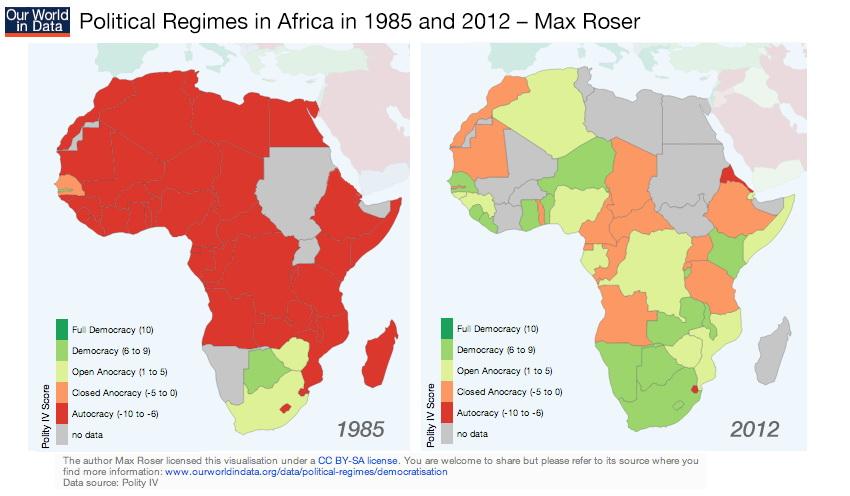 Regimes in Africa in 1985 & 2012