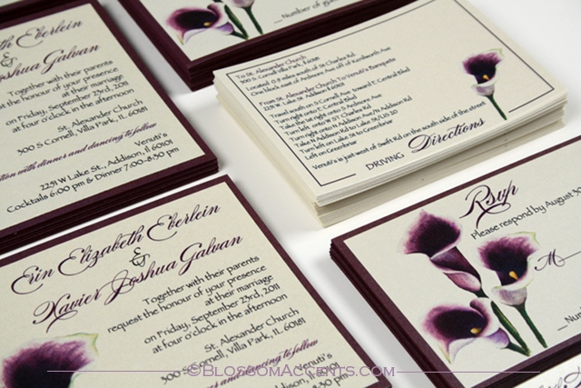 Gorgeous Deep Purple Calla Lily Invitations Presented On Pearlescent Ivory  Paper And Pearlescent Dark Purple Paper And Some Cute Direction Cards To Go  With ...