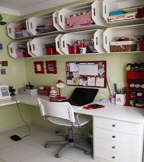 caixote na decoração escritorio home office