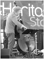 Clark Sommers - Double Bass - Spin Quartet - 2015 Chicago Jazz Festival   Photograph by Tom Bowser