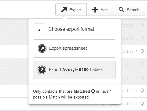 exporting addresses for avery labels