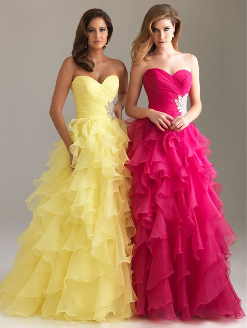 gorgeous sweetheart crystal ball gown ruched ruffled organza red yellow strapless long prom dresses