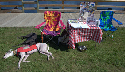 Blue and Bettina greyhound at Gardiner Barks in the Park