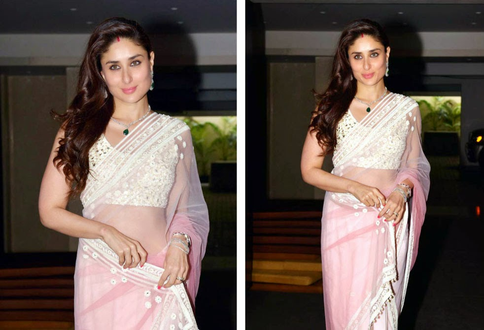 Actress Kreena kapoor Graced In Pink Embroidery Work Saree