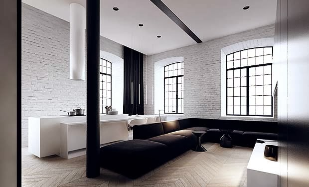 White brick wall in loft apartment