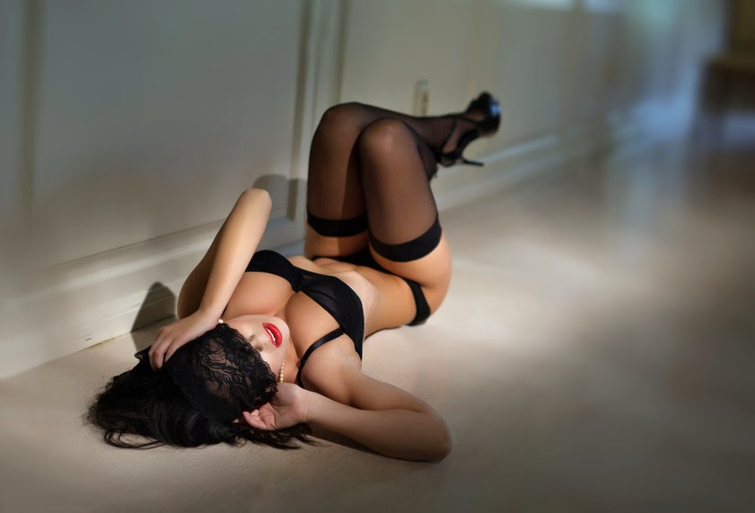 Sexy Brunette Woman Laying on Floor