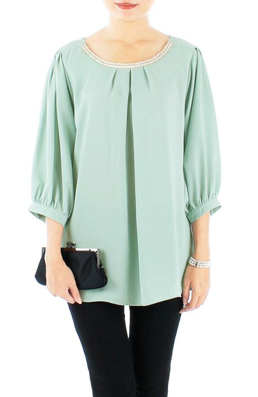 Mint Gold & White French Embroidered Trim Blouse