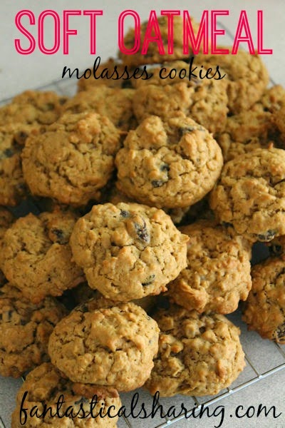 Soft Oatmeal Raisin Molasses Cookies | These oatmeal raisin cookies get a hit of sweet, rich molasses to amp up the flavor! #cookies #recipe #dessert