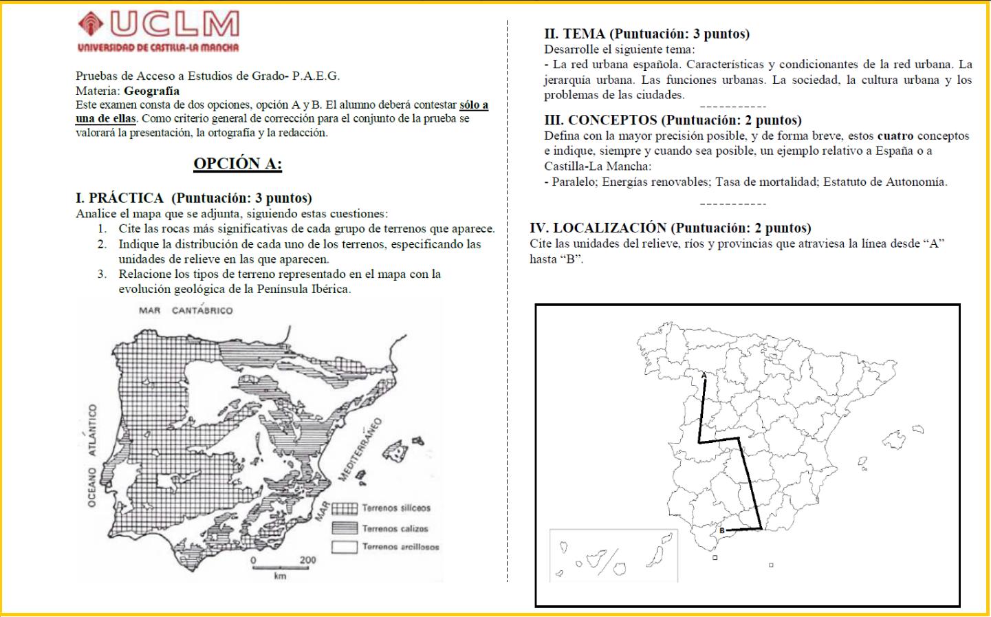 Examen Selectividad de Geografía (PAEG-PAU) 2015