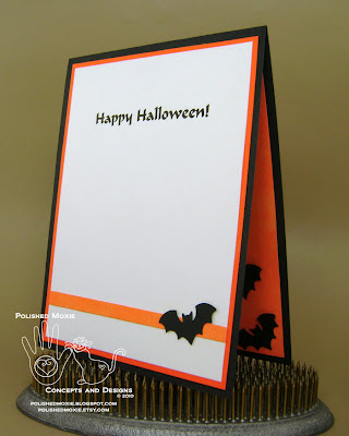 Picture of the inside of my handmade bats Halloween card set at a left angle