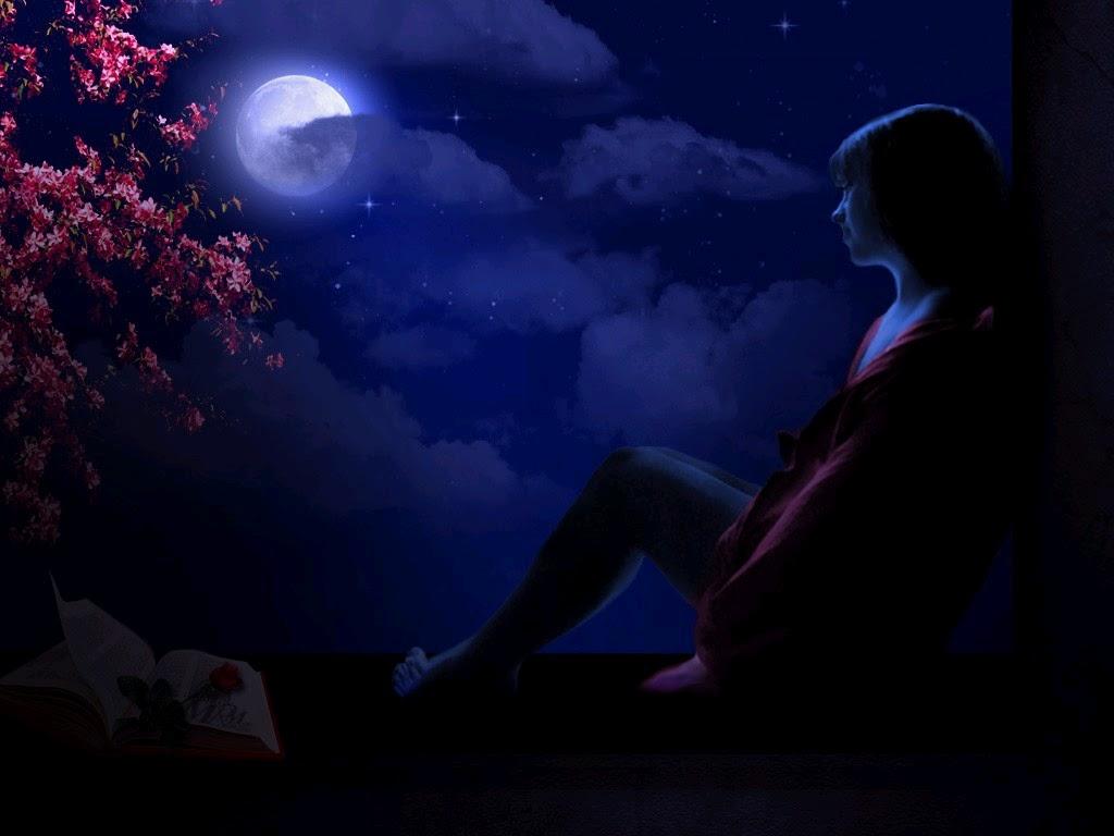 Alone Girl With Dreamy Night