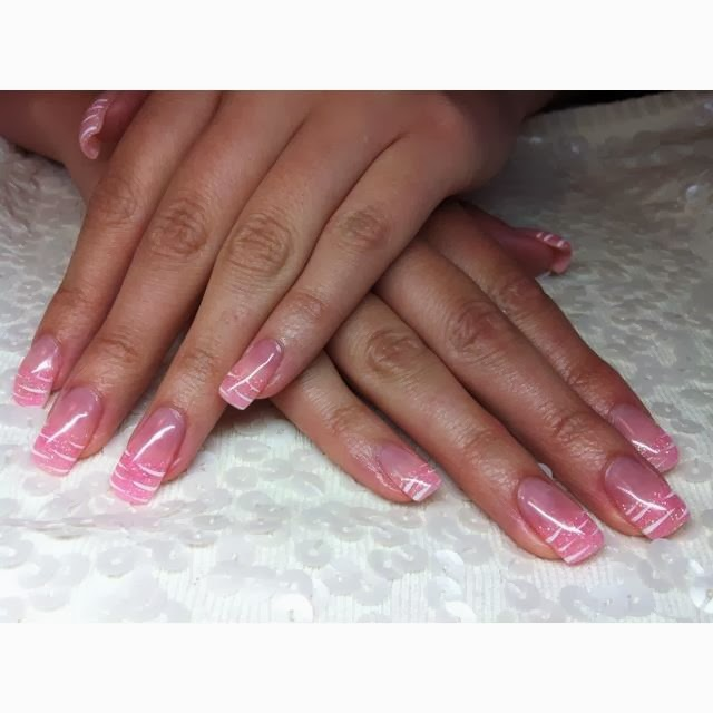 Acrylic-nails-pink-topcoat-French-gels-LED-polish-silver-haze-glitz-and-silver-square-sculpted-gels-glitz-gels-nail-art-design