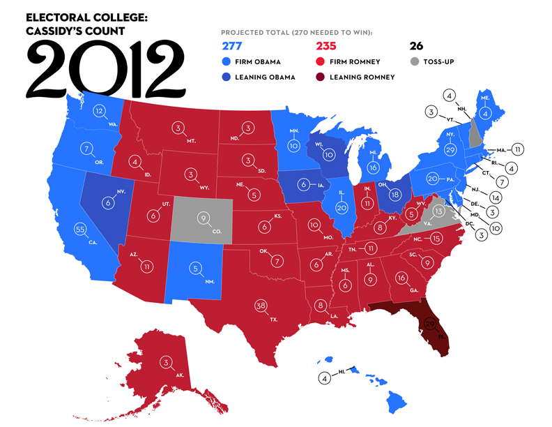 US Presidential Election Electoral College Map - Us presidential election 2012 map